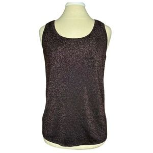 Chico's Women's Brown Copper Metallic Shimmer Sleeveless Knit Top 2 Large EUC